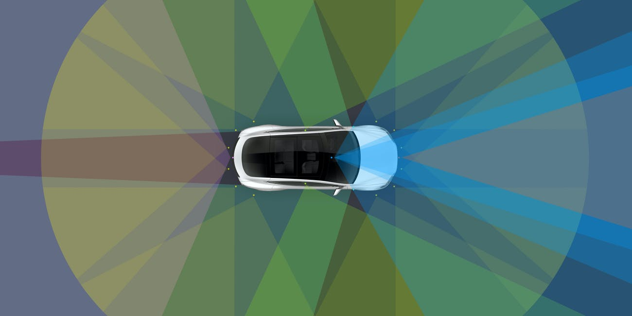 A Tesla autonomous vehicle assessing the roads.