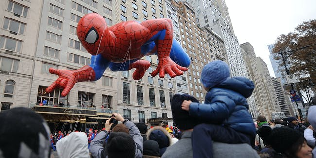NEW YORK, NY - NOVEMBER 27:  A Spiderman balloon floats at the  88th Annual Macy's Thanksgiving Day on November 27, 2014 in New York City.  (Photo by Brad Barket/Getty Images)