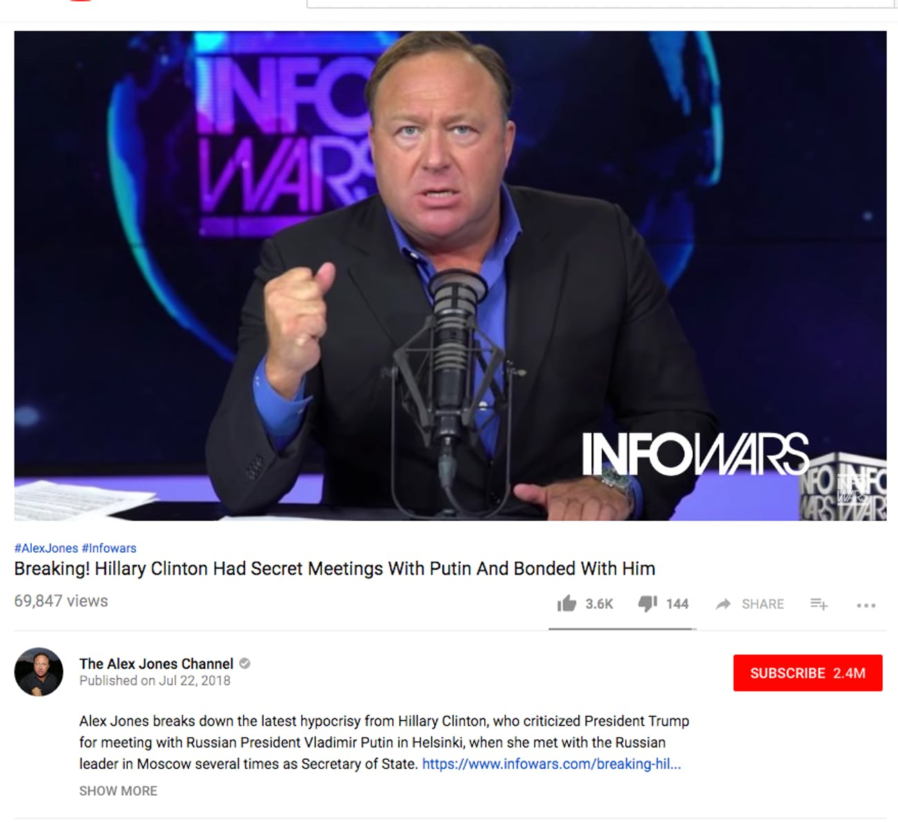 A recent Alex Jones video as it appears on his YouTube channel.