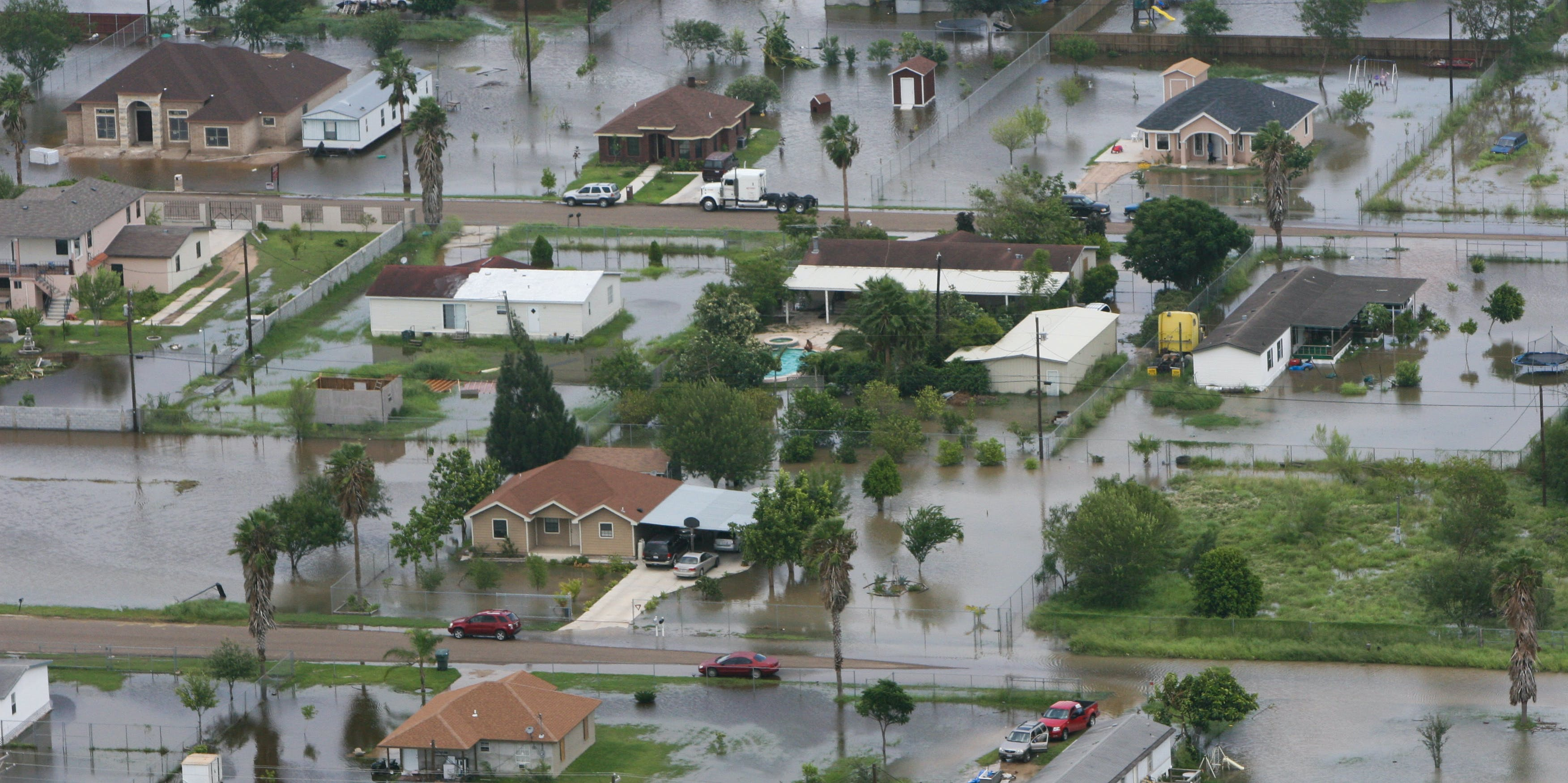 Streets are flooded in Raymondville, Texas, in the aftermath of Hurricane Ike.