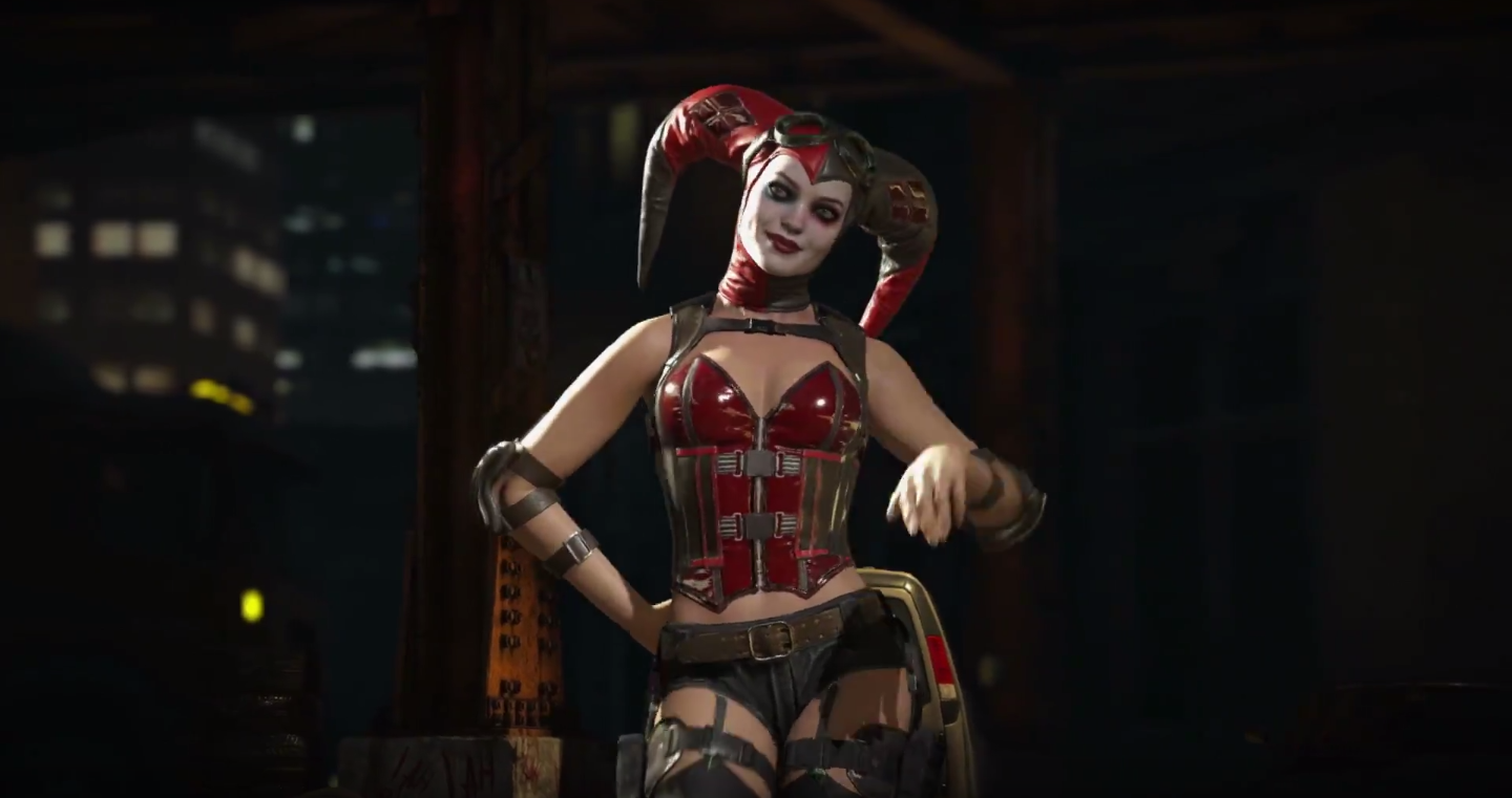 One of several costumes Harley Quinn sports in the game, which touts customizable options.