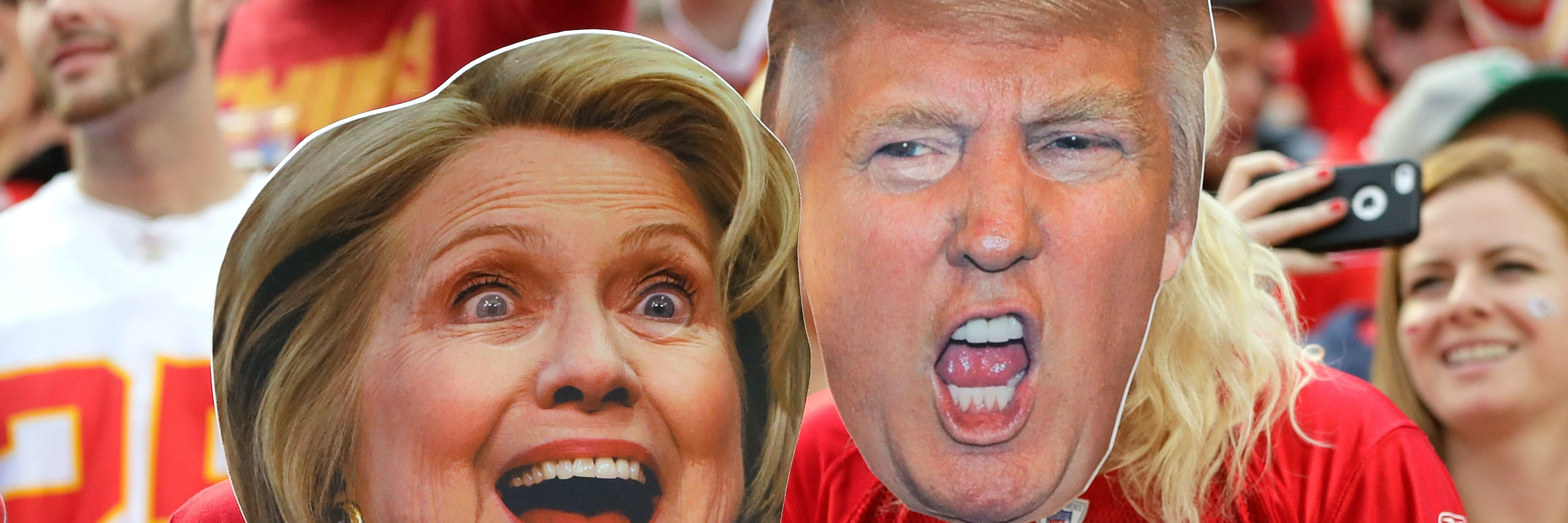 Election 2016 pits former Secretary of State Hillary Clinton against businessman and smashed pumpkin Donald Trump.