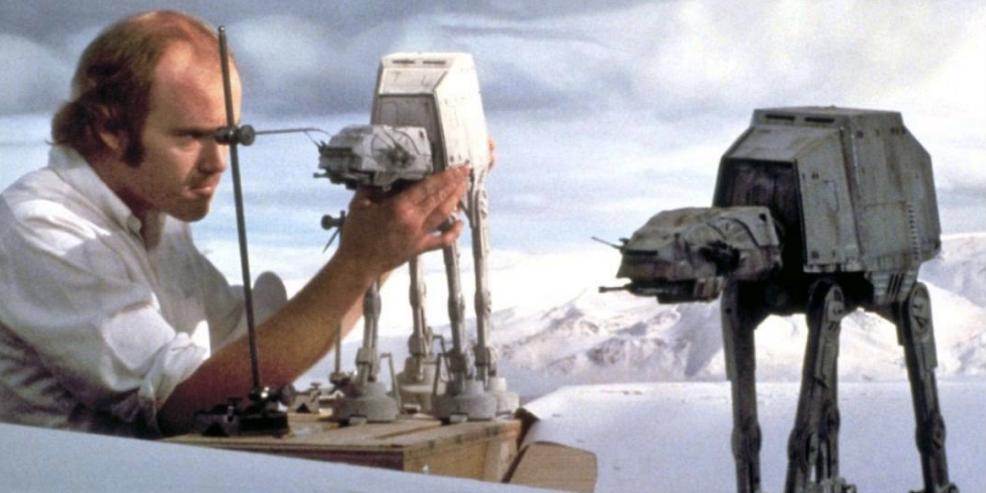 Phil Tippet on the set of 'The Empire Strikes Back'