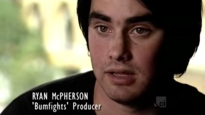 Here's McPherson in 'Bumfights - A Video Too Far,' a documentary about the series.