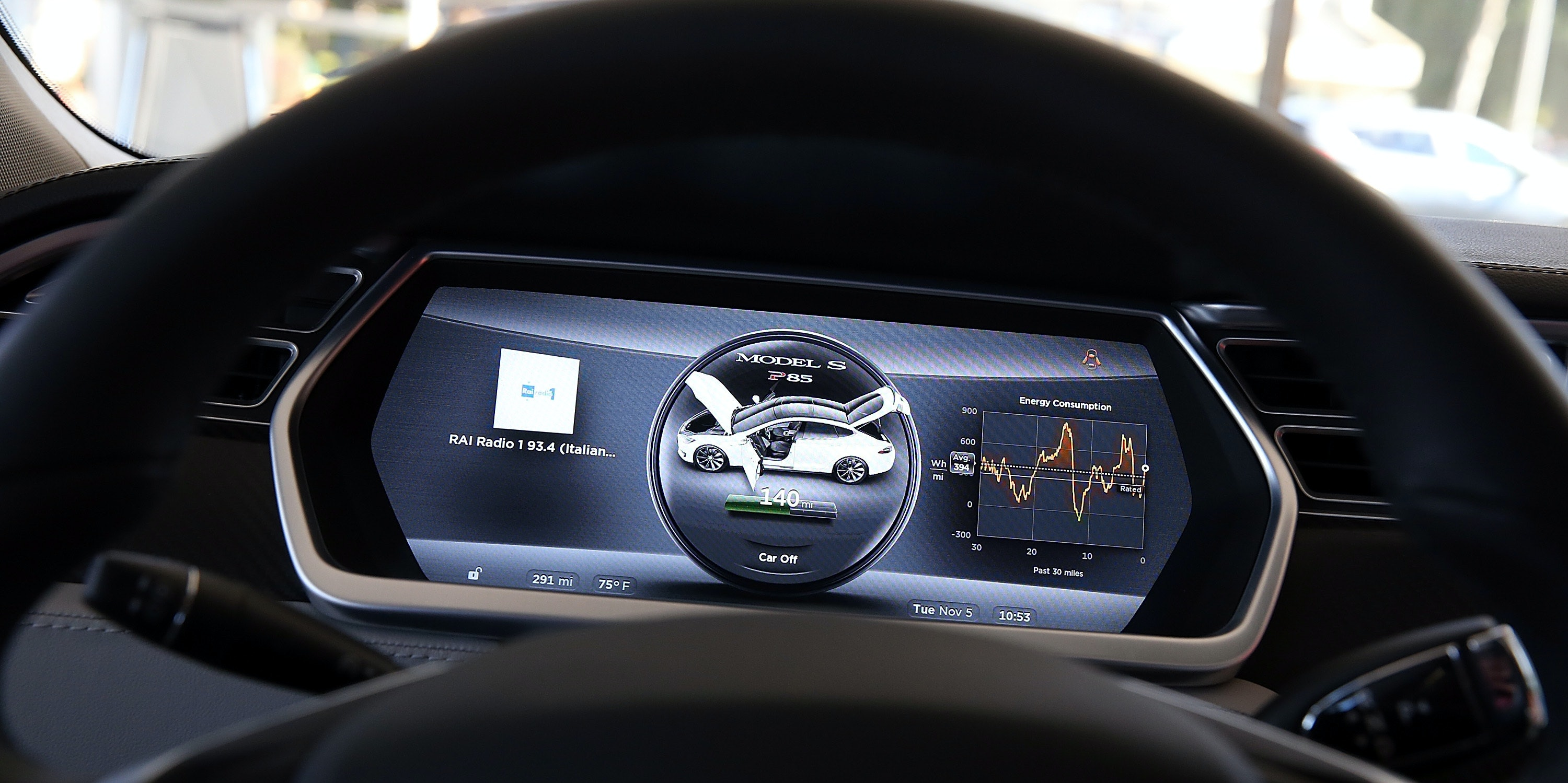 PALO ALTO, CA - NOVEMBER 05:  A view of the dashboard in a new Tesla Model S car at a Tesla showroom on November 5, 2013 in Palo Alto, California. Tesla will report third quarter earnings today after the closing bell.  (Photo by Justin Sullivan/Getty Images)