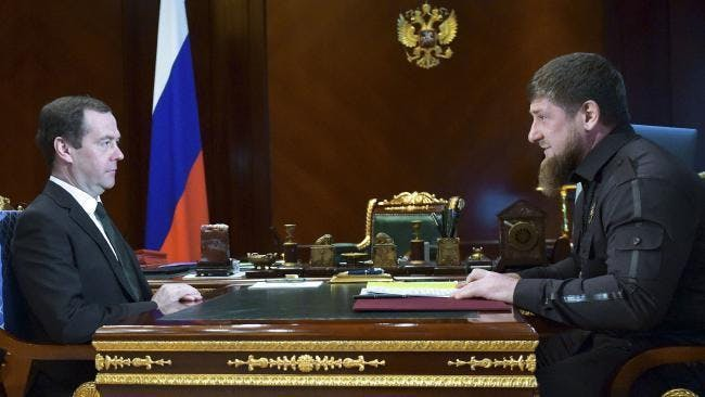 Russian Prime Minister Dmitry Medvedev, left, meets with Chechen regional leader Ramzan Kadyrov