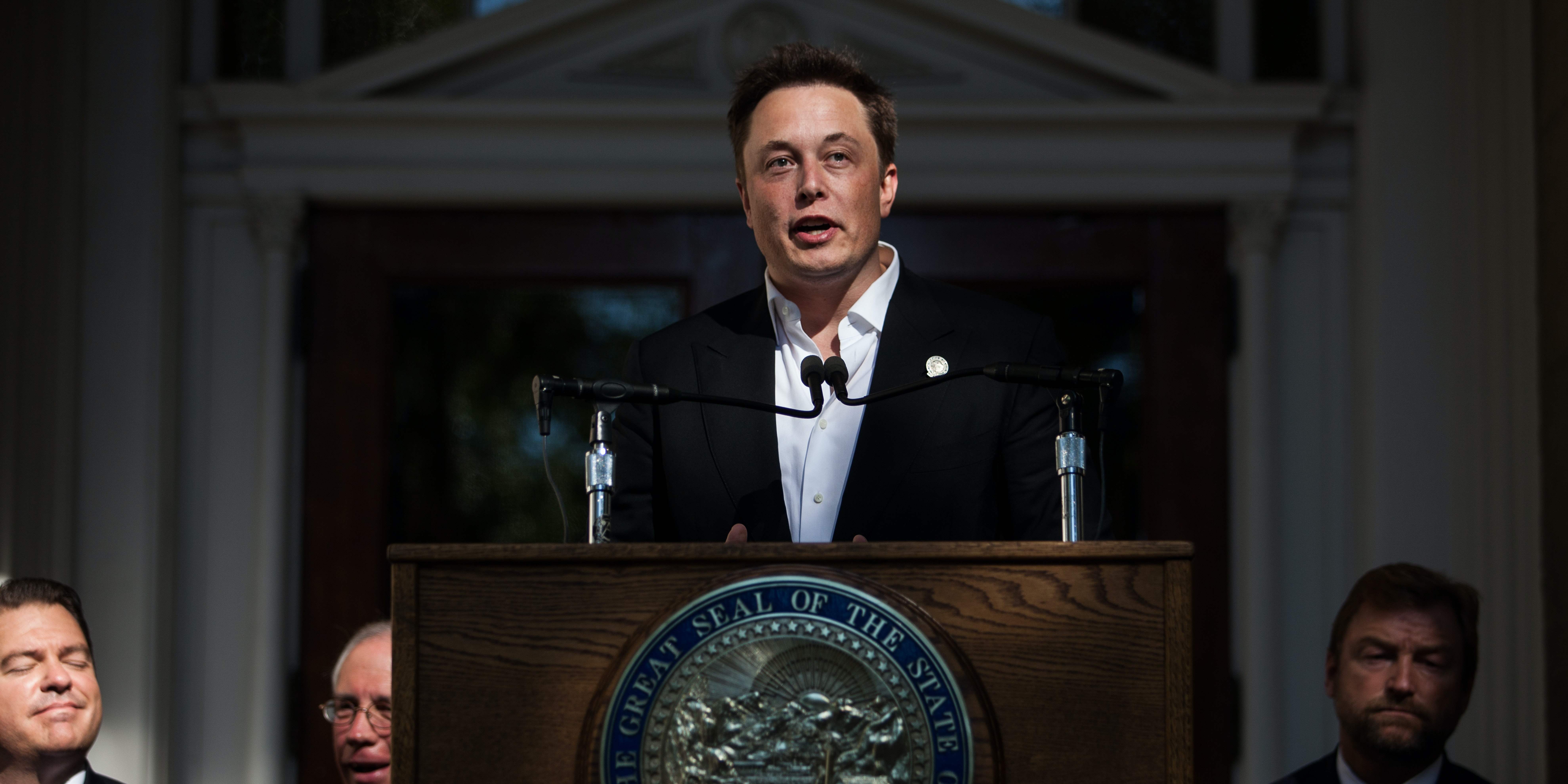 CARSON CITY, NEVADA- SEPTEMBER 4: Elon Musk, CEO of Tesla Motors, speaks at a press conference at the Nevada State Capitol, September 4, 2014 in Carson City, Nevada. Musk and Sandoval announced a plan to build a Tesla Gigafactory in Nevada to produce batteries for electric vehicles providing 6,500 jobs to the state. (Photo by Max Whittaker/Getty Images)