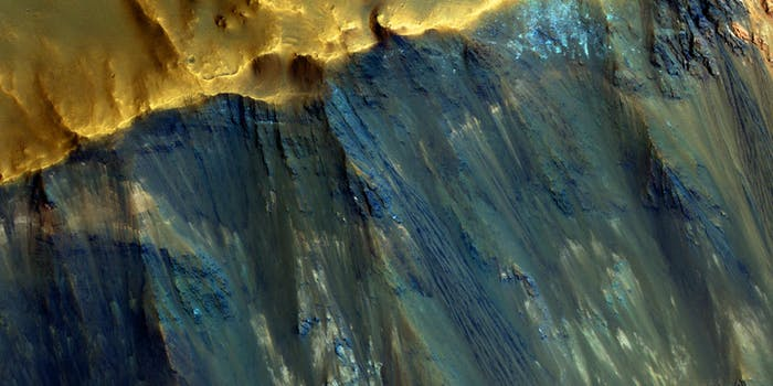 A view inside an impact crater on Mars.