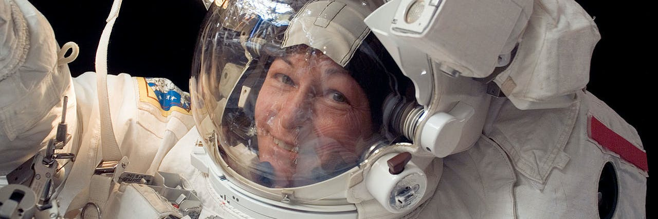 March is the annual celebration of National Women's History Month. In this image from Jan. 30, 2008, Expedition 16 commander Peggy Whitson, the first female commander of the International Space Station, participates in a seven hour, ten minute spacewalk. During the spacewalk, Whitson and astronaut Daniel Tani, flight engineer, replaced a motor at the base of one of the station's solar wings.