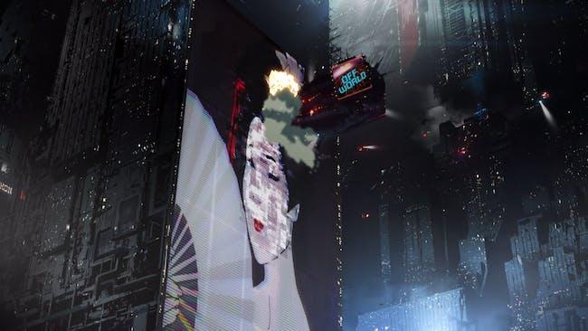 Screenshot of the 'Blade Runner 2049' anime prequel short, 'Blackout 2022'