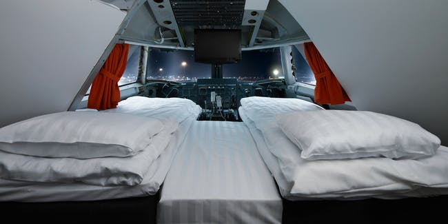 airplane, hotel