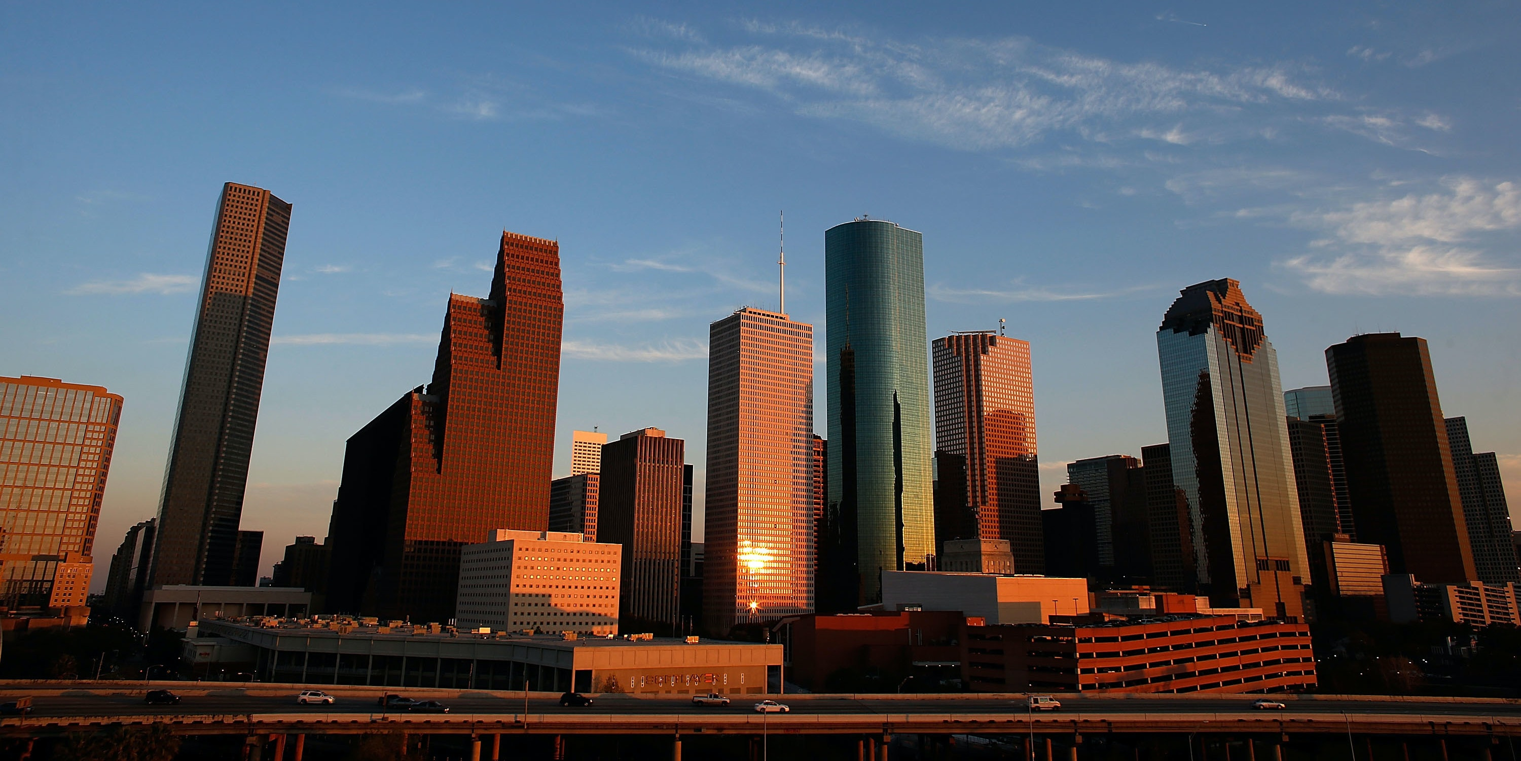 A view of the Houston skyline at dusk,