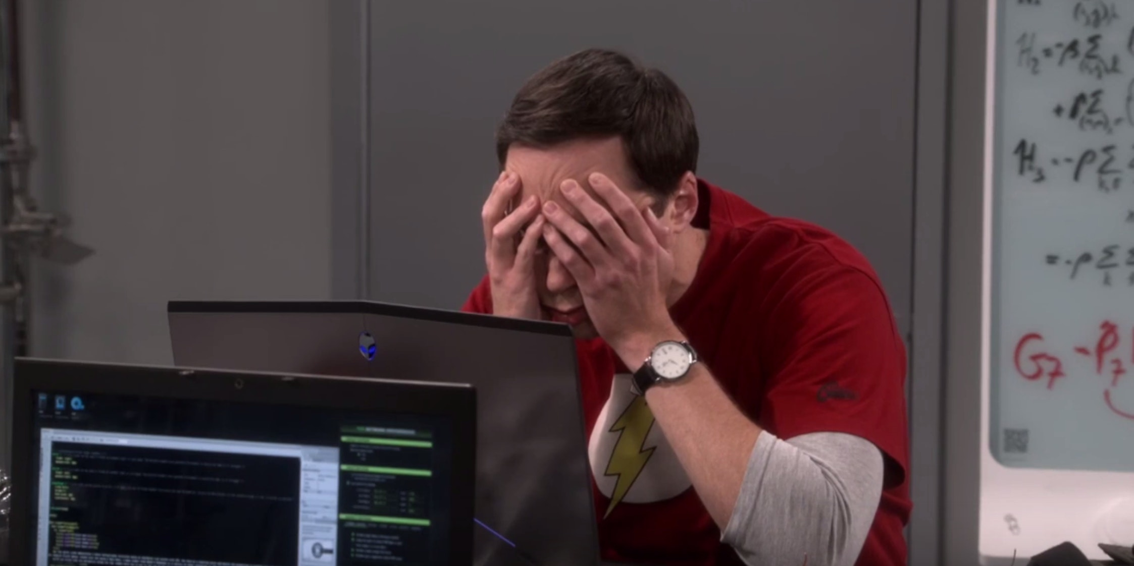 Sheldon claims he suffers from caffeine addiction.