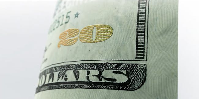 Color shifting ink is one of the security features of the $20 bill.