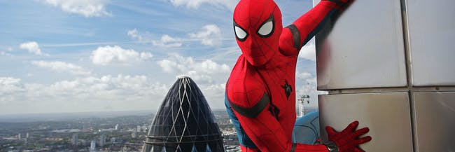 'Spider-Man: Homecoming' stunt double Chris Silcox scaled some of London's tallest buildings for a promo photo shoot.