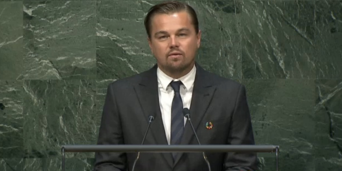 DiCaprio gave a speech urging world leaders to act now on climate change