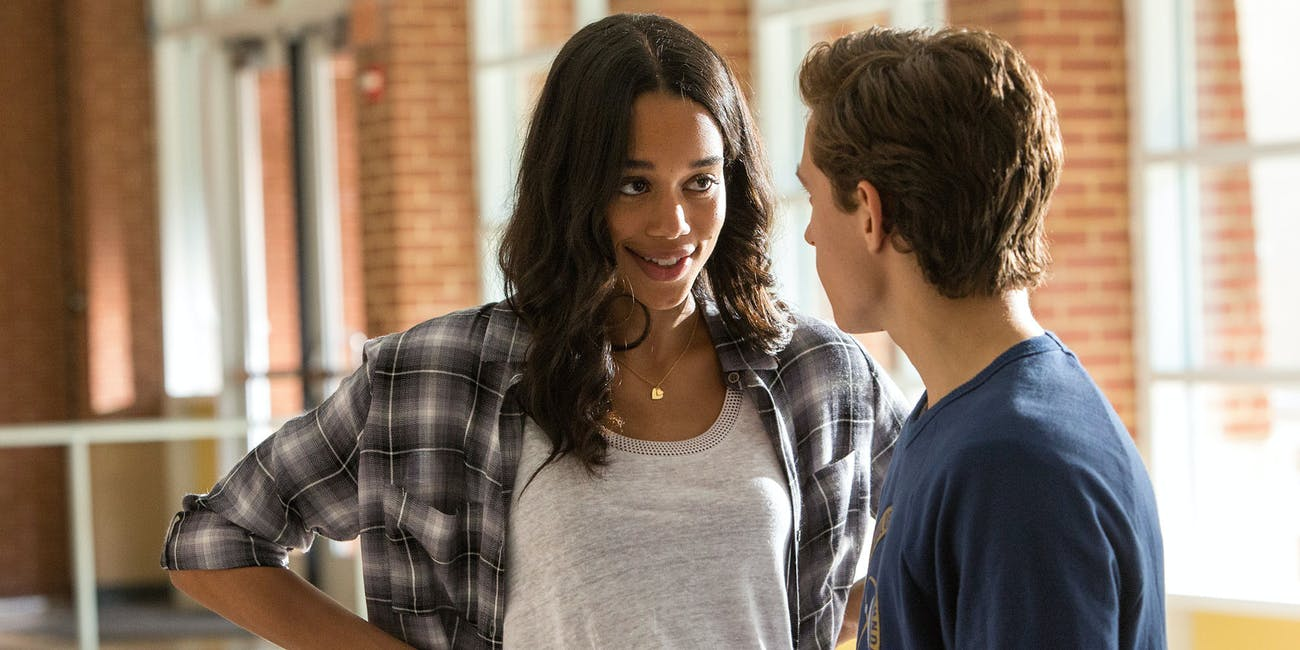 Liz Toomes (Laura Harrier) and Peter Parker (Tom Holland).