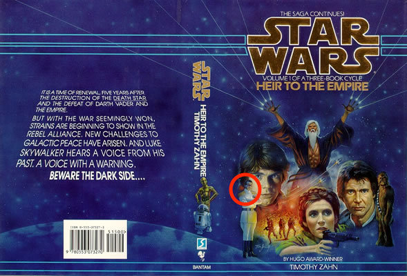 The dust jacket for the original edition of 'Heir to the Empire.' There's Thrawn, making his debut, in the lower left corner.
