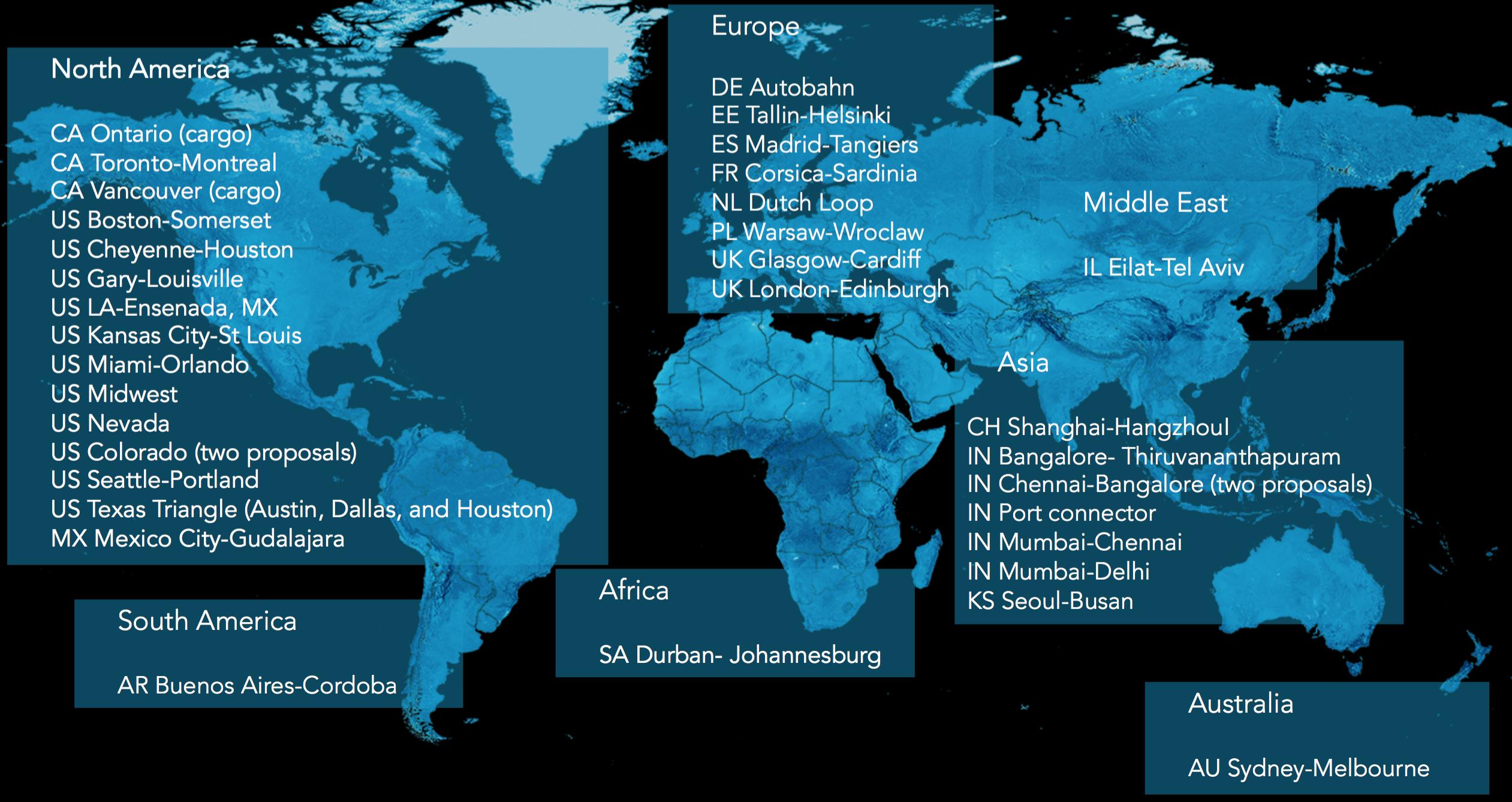 The finalists released by Hyperloop One, by region.