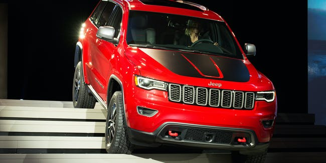 NEW YORK, NY - MARCH 23:  The Trailhawk  version of the Jeep Grand Cherokee is introduce at the New York International Auto Show at the Javits Center on March 23, 2016 in New York City. Head of Jeep Brand Mike Manley introduced the Summit, a model built for luxury, as well as the Trailhawk, a model built for off-road use.  (Photo by Bryan Thomas/Getty Images)