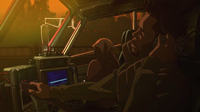 A screenshot from 'Blackout 2022', the anime prequel short to 'Blade Runner 2049'.