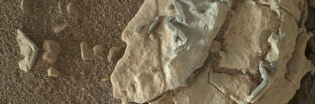 The stick-shaped features on this Martian rock are about the size of grains of rice.