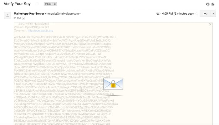 Unlock your decrypted email to verify your key.