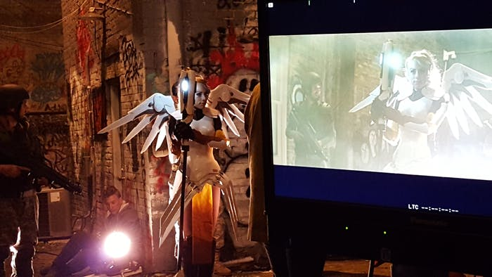"A behind-the-scenes photo of the ""Heroes Never Die"" production."