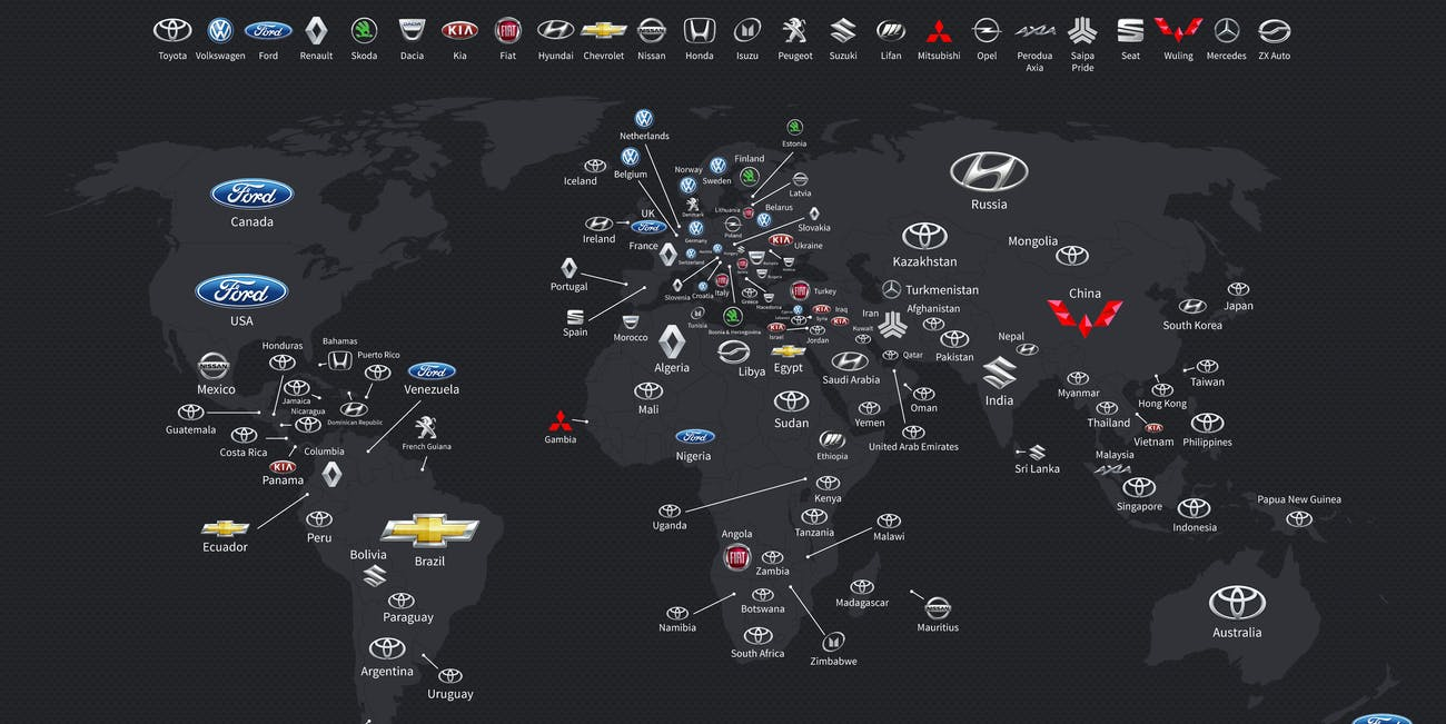 Map most popular car brand by country