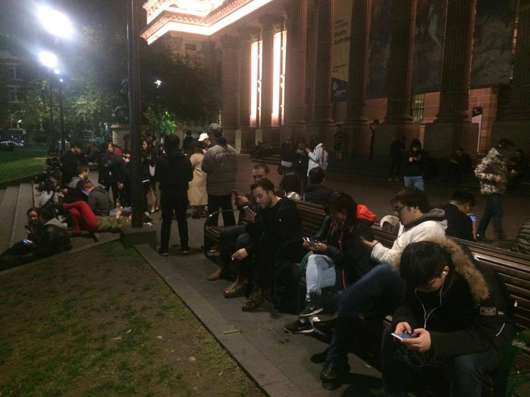 Friday night at Melbourne Central in Australia, with over a dozen people seen playing 'Pokemon GO.' Taken by user Haloi.