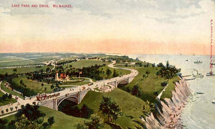An early postcard of Lake Park