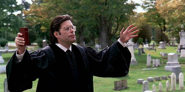 Stephen King in a cameo in the movie version of 'Pet Cemetery'