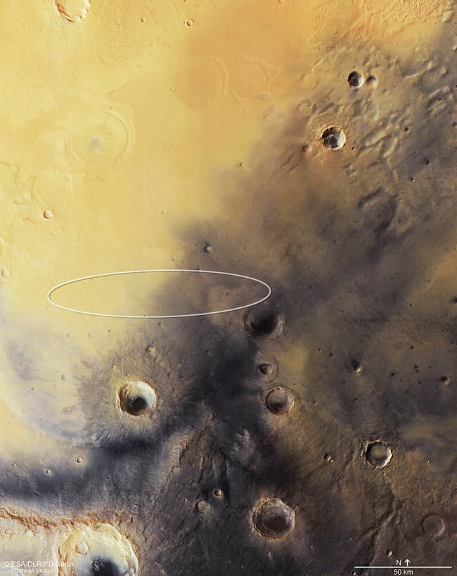 The Mars Express orbiter's view of the Schiaparelli landing site.