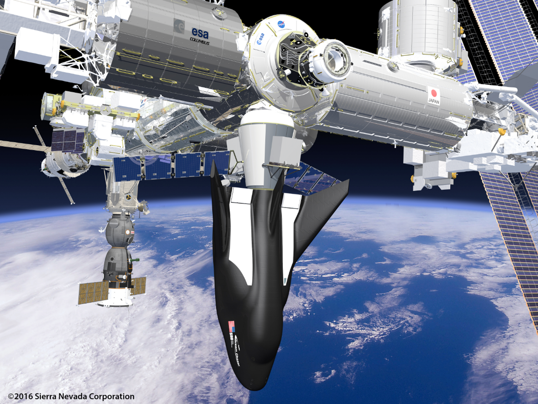 An artist's rendering of SNC's Dream Chaser Spacecraft and Cargo Module Attached to the ISS.