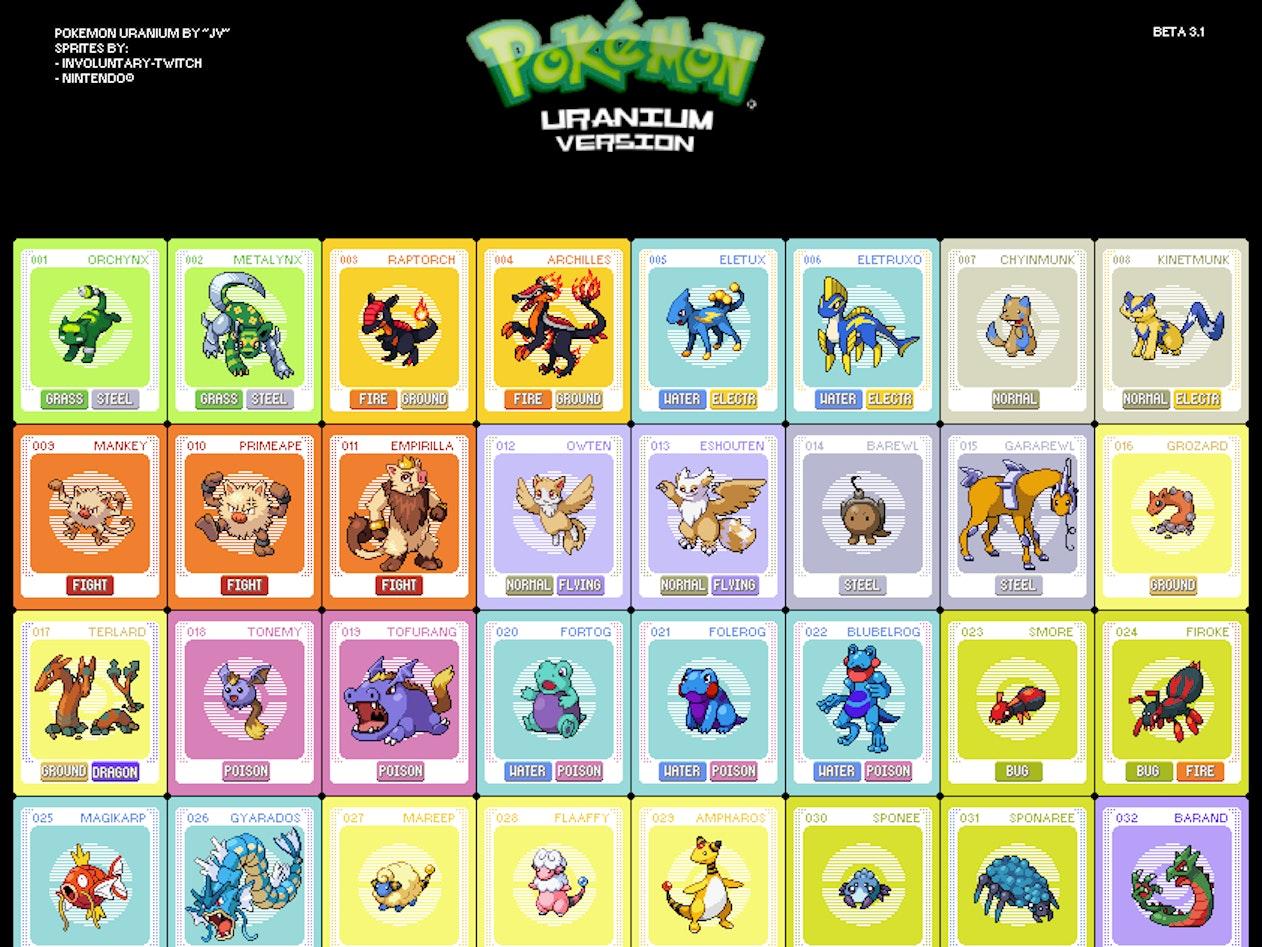 Some of Pokemon Uranium's original offerings.
