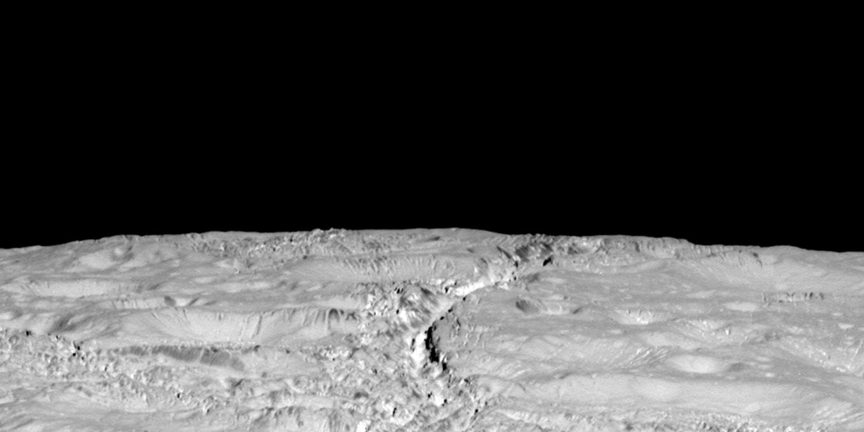 Saturn's Ice-Spitting Moon Enceladus Photographed by NASA