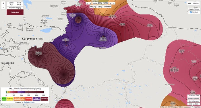 berkeley earth china air pollution map