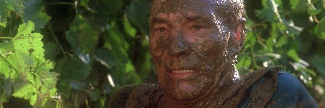 Picard (Patrick Stewart) looking pretty muddy.