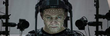 Snoke actor Andy Serkis in motion-capture gear.