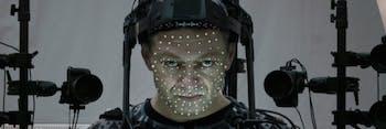Snoke actor Andy Serkis in motion-capture gear.