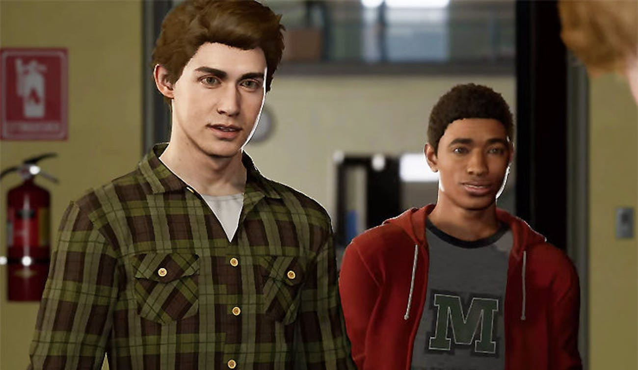 Peter Parker and Miles Morales in the 'Spider-Man' video game for PlayStation 4.