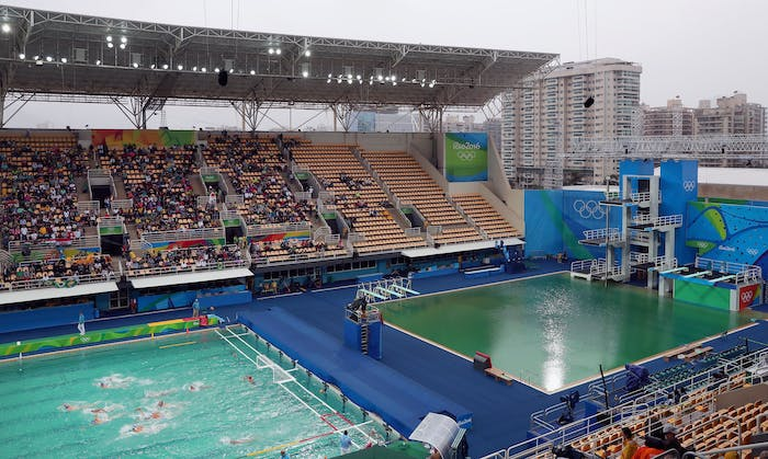 Both the diving pool and water polo pool Wednesday morning -- the color of the diving pool is unchanged, and water polo is significantly greener than it was yesterday.