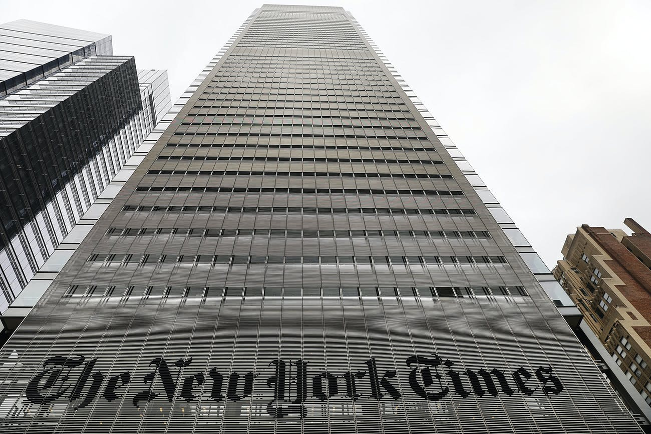 NEW YORK, NY - JULY 27: The New York Times building stands in Manhattan on July 27, 2017 in New York City. The New York Times Company shares have surged to a nine-year high after posting strong earnings on Thursday. Partly due to new digital subscriptions following the election of Donald Trump as president, the company reported a profit of $27.7 million in the second quarter, up from $9.1 million in the same period last year. (Photo by Spencer Platt/Getty Images)