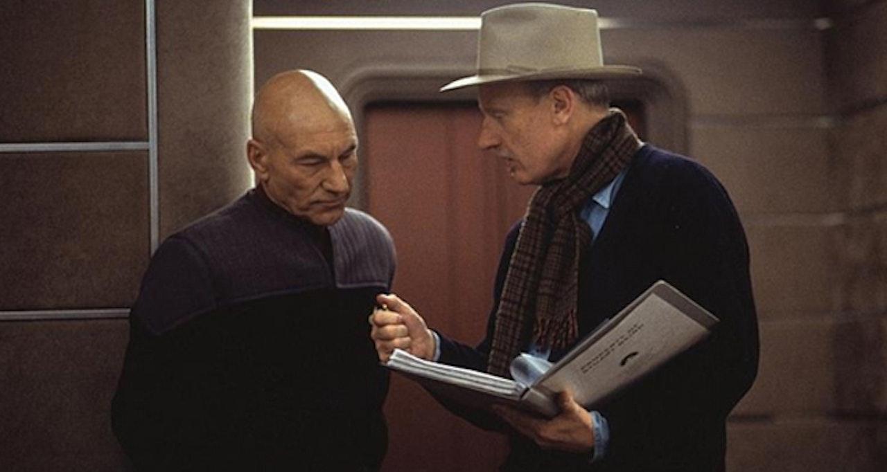 "Patrick Stewart with director Stuart Baird on the set of 'Star Trek: Nemesis"""