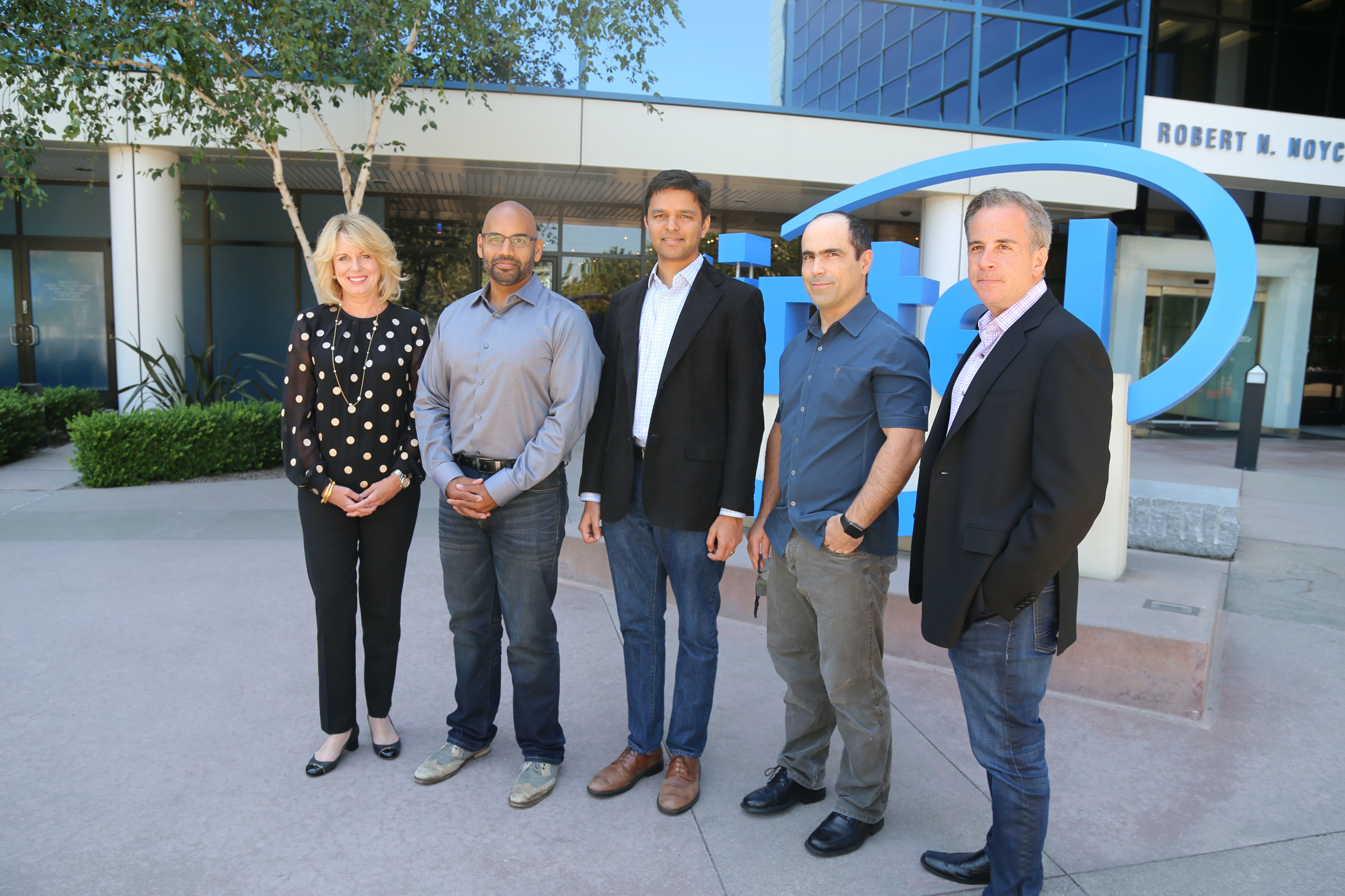Intels Diane Bryant with Nervana's co-founders Naveen Rao, Arjun Bansal, Amir Khosrowshaki and Intel vice president Jason Waxman