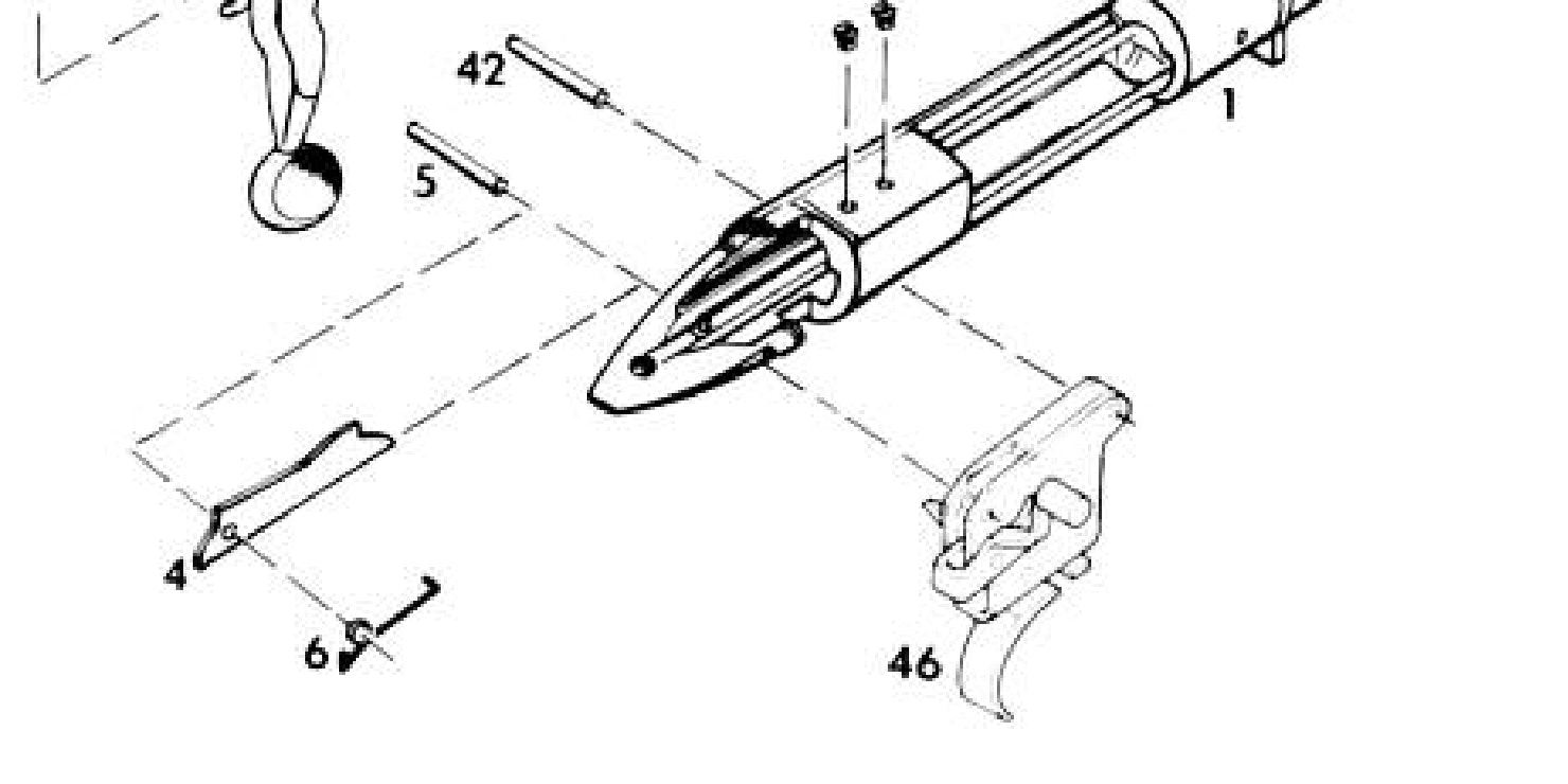 This exploded diagram of a Remington Model 700 shows its X-Mark Pro trigger, part #46.