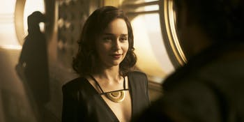 Emilia Clarke as Qi'ra and Alden Ehrenreich as Han Solo in 'Solo: A Star Wars Story'