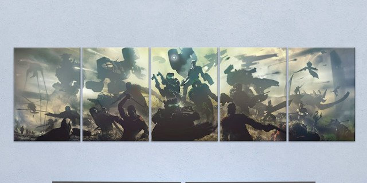 Gaming Gang Poster made out of metal.
