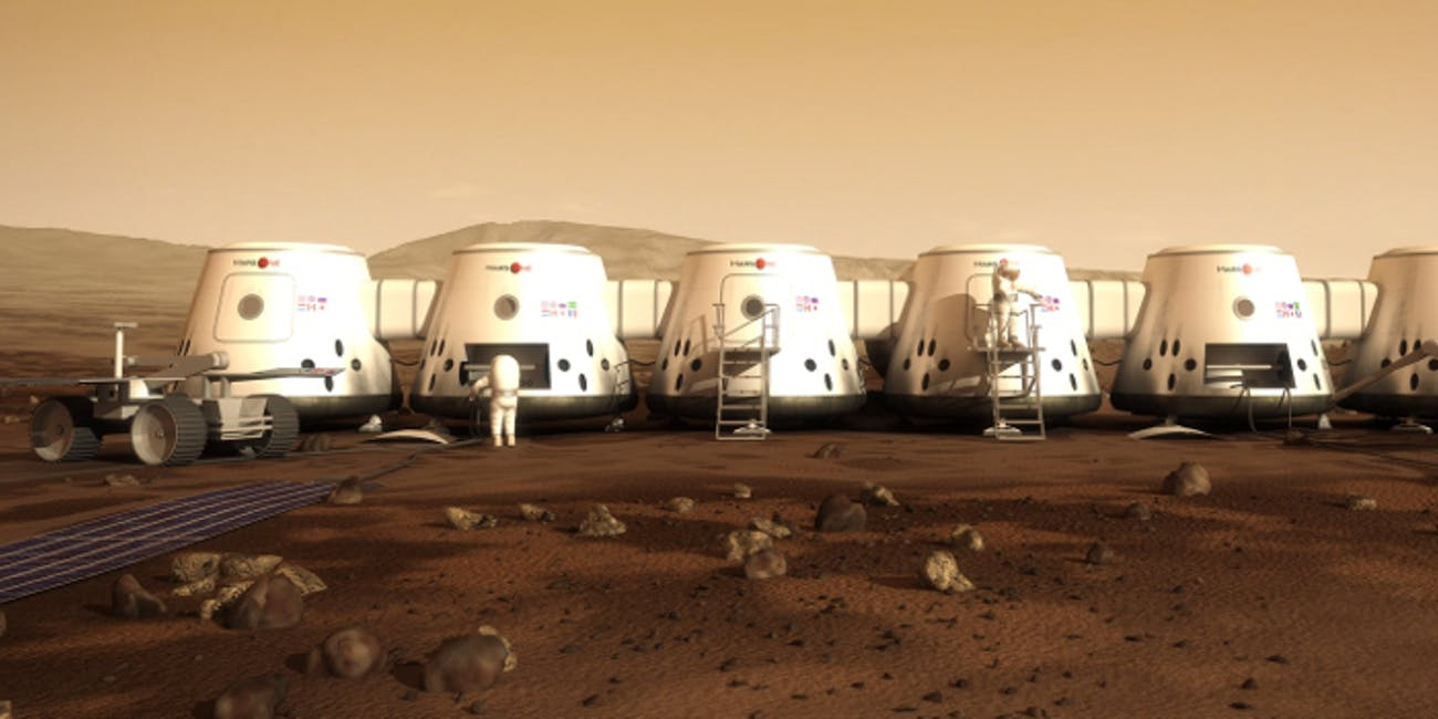 A view of the proposed Mars One outpost on the red planet.