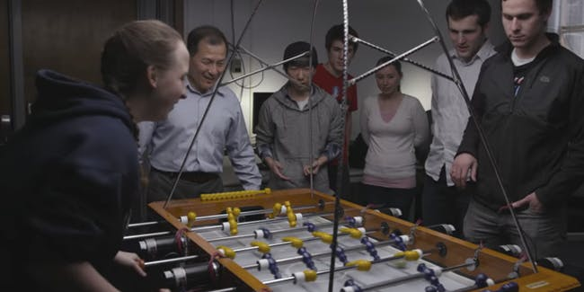 Watch BYU Students lose to their own foosball playing AI
